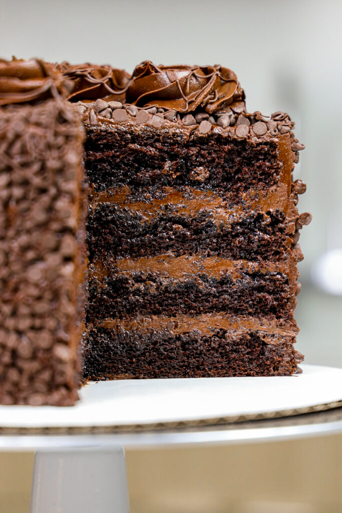 image of a death by chocolate cake made with moist chocolate cake layers, decadent dark chocolate buttercream, and coated with mini chocolate chips