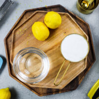 image of ingredients laid out to make lemon simple syrup