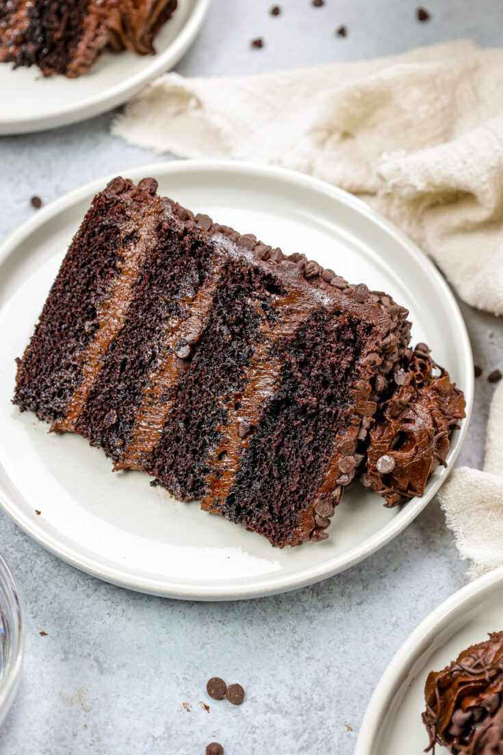 image of a slice of moist chocolate cake made with moist chocolate cake layers, decadent dark chocolate buttercream, and coated with mini chocolate chips on a plate