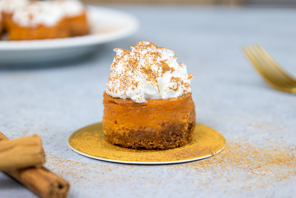 image of a mini pumpkin cheesecake topped with whipped cream and dusted with cinnamon