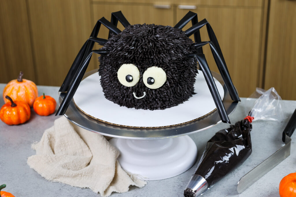 image of a cute and easy spider cake made for halloween