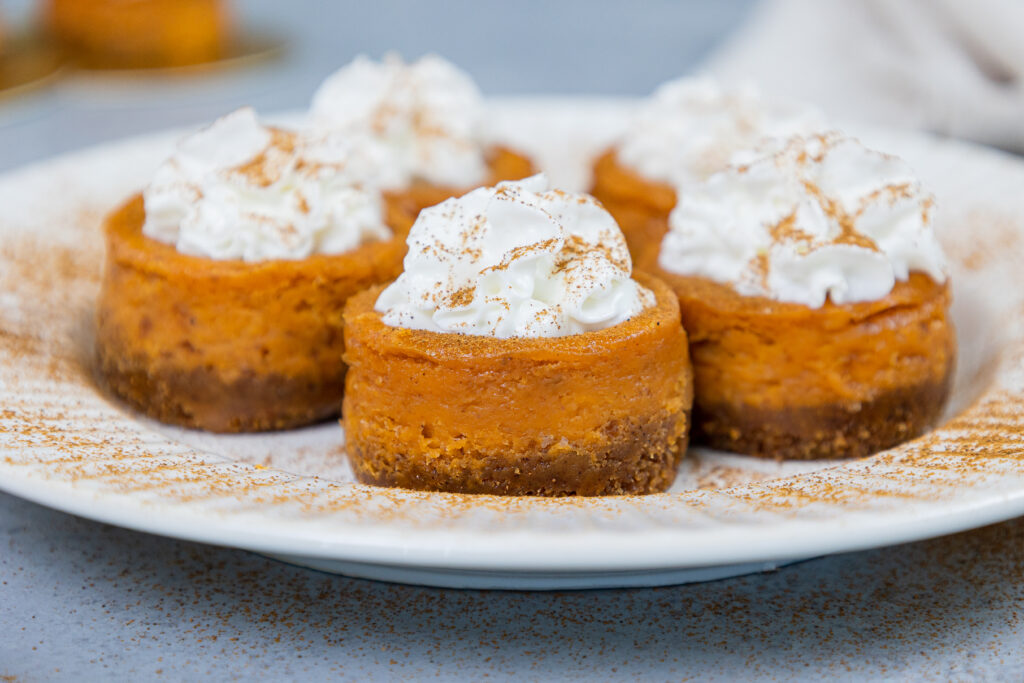 image of mini pumpkin cheesecake on a plate showing how small they are