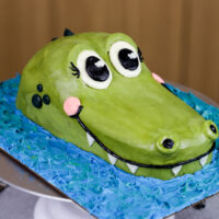 image of crocodile cake made with buttercream and vanilla cake layers