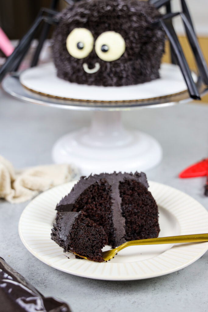 image of a bite of chocolate cake on a fork that was cut from a slice on a plate