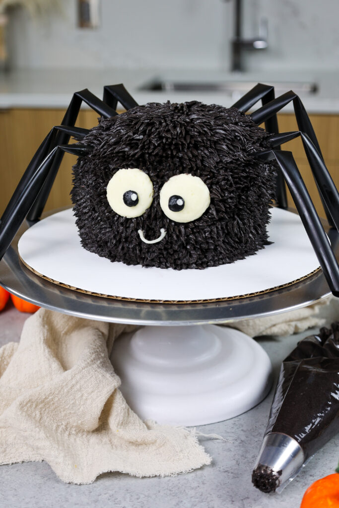 image of a cute halloween spider cake made with chocolate cake layers and chocolate buttercream frosting