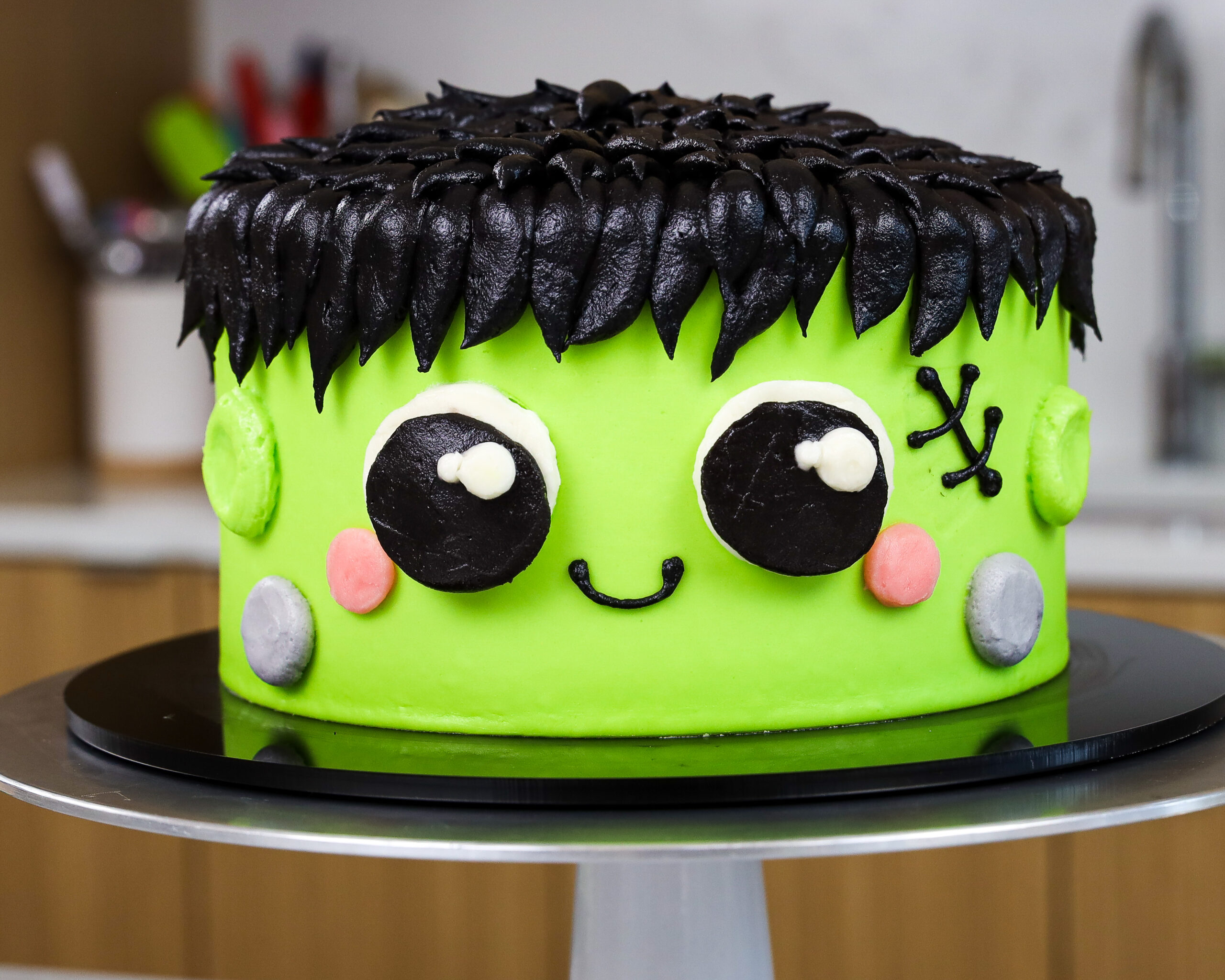 image of a cute Frankenstein cake made for halloween